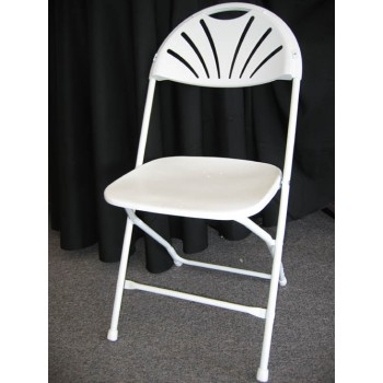 Fan Back White Folding Chair