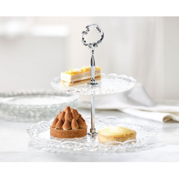 2-Tier Glass Serving Stand